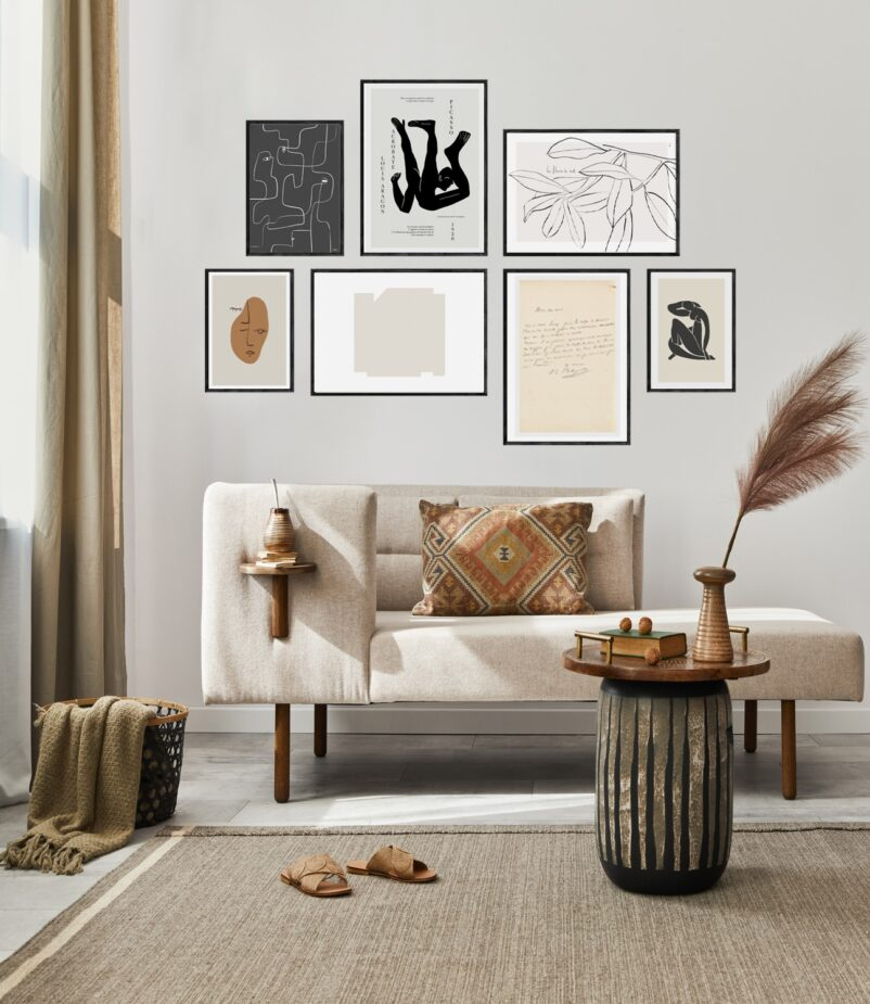 Art by Ninon   A Gallery Wall constructed with select statement pieces