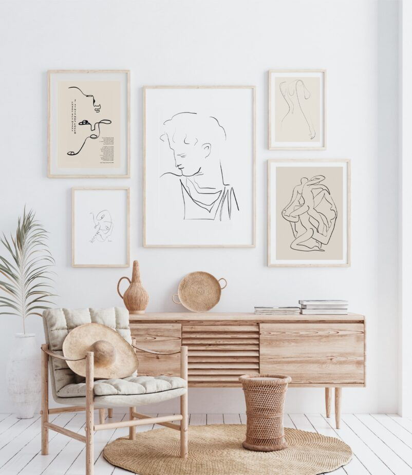 A Gallery Wall constructed with select statement pieces   Art by Ninon