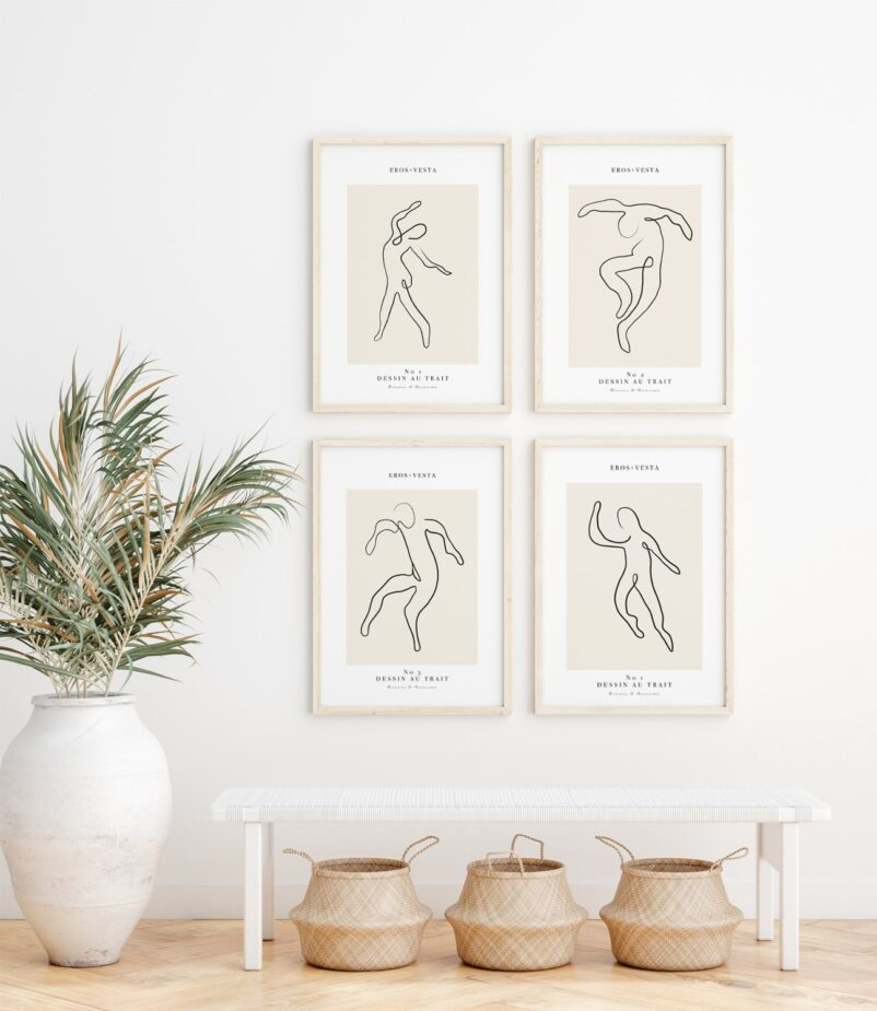 Dessin au Trait N°1 in Line Art is the first art print of a series inspired by LaDance by Henri Matisse as an ode as an ode to joy.