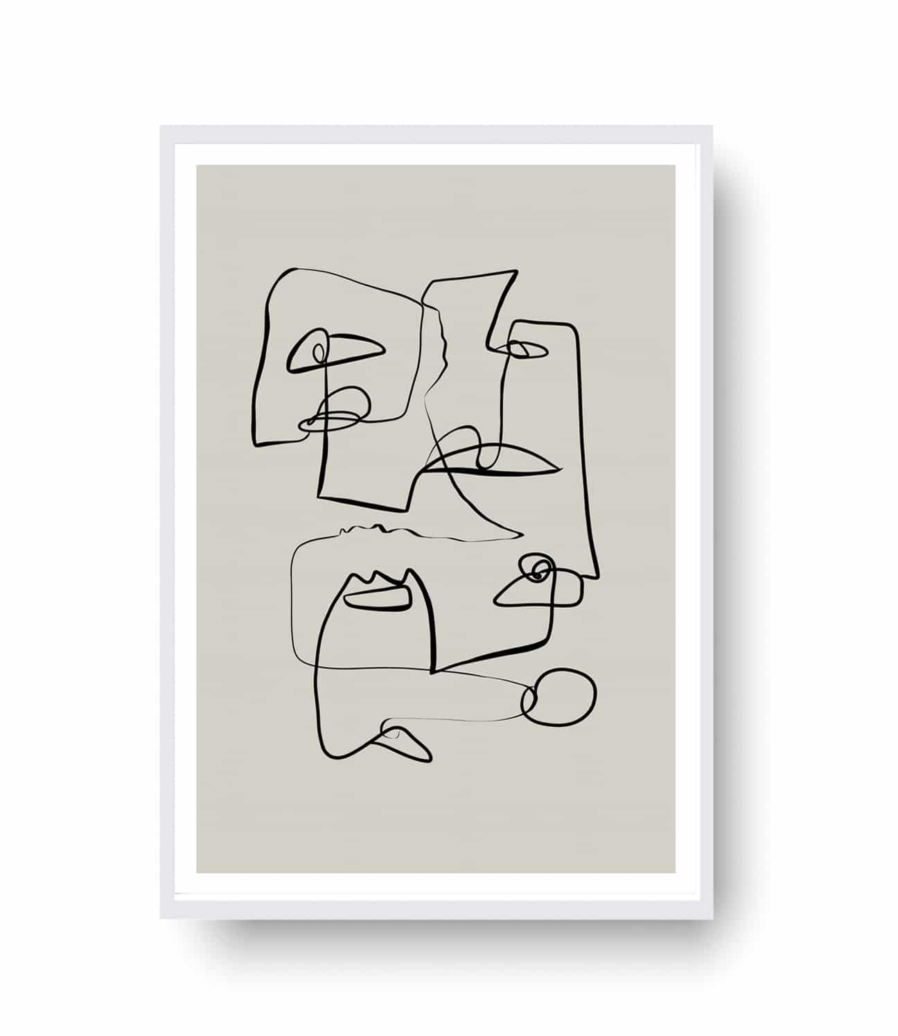 Face à Face in Line Art is an original creation inspired bythe cubism art movement, questioning how today'senvironment and technologies have changed theface-to-face conversation.